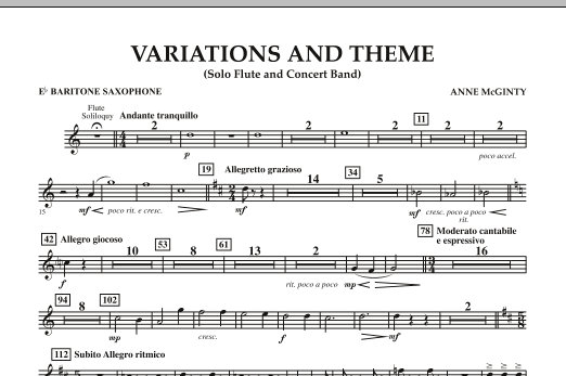 page one of Variations And Theme (for Flute Solo And Band) - Eb Baritone SaxophoneASALTTEXT