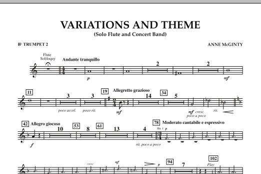 Variations And Theme (for Flute Solo And Band) - Bb Trumpet 2 (Concert Band)