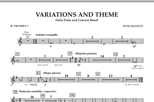Variations And Theme (for Flute Solo And Band) - Bb Trumpet 3 (Concert Band)