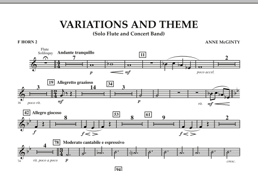 Variations And Theme (for Flute Solo And Band) - F Horn 2 (Concert Band)