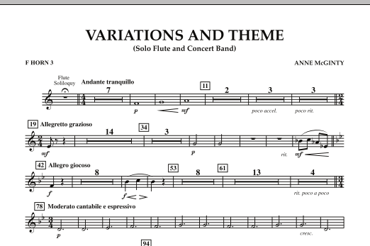Variations And Theme (for Flute Solo And Band) - F Horn 3 (Concert Band)