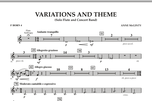 Variations And Theme (for Flute Solo And Band) - F Horn 4 (Concert Band)