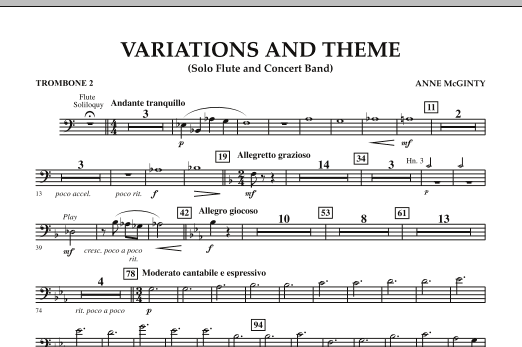 Variations And Theme (for Flute Solo And Band) - Trombone 2 (Concert Band)