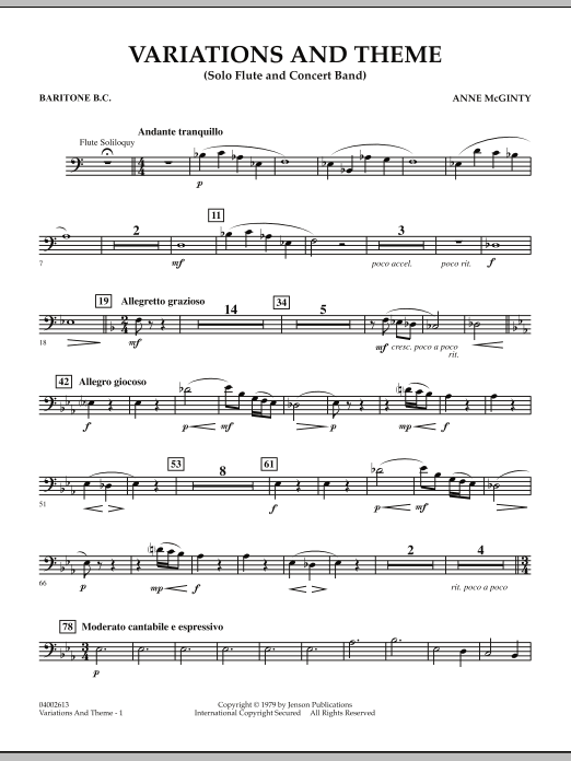 Variations And Theme (for Flute Solo And Band) - Baritone B.C. (Concert Band)