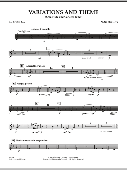 Variations And Theme (for Flute Solo And Band) - Baritone T.C. (Concert Band)