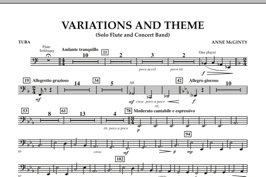 Variations And Theme (for Flute Solo And Band) - Tuba (Concert Band)