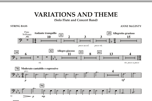 Variations And Theme (for Flute Solo And Band) - String Bass (Concert Band)