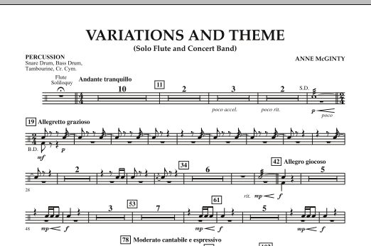 Variations And Theme (for Flute Solo And Band) - Percussion (Concert Band)