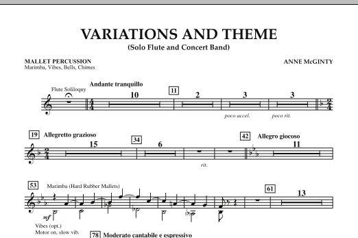 Variations And Theme (for Flute Solo And Band) - Mallet Percussion (Concert Band)