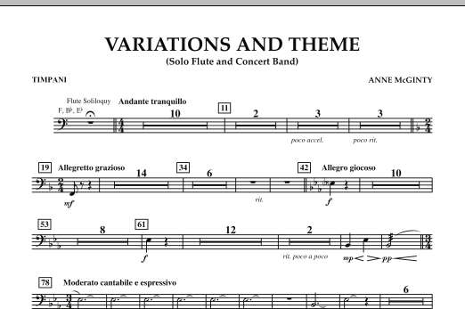 Variations And Theme (for Flute Solo And Band) - Timpani (Concert Band)