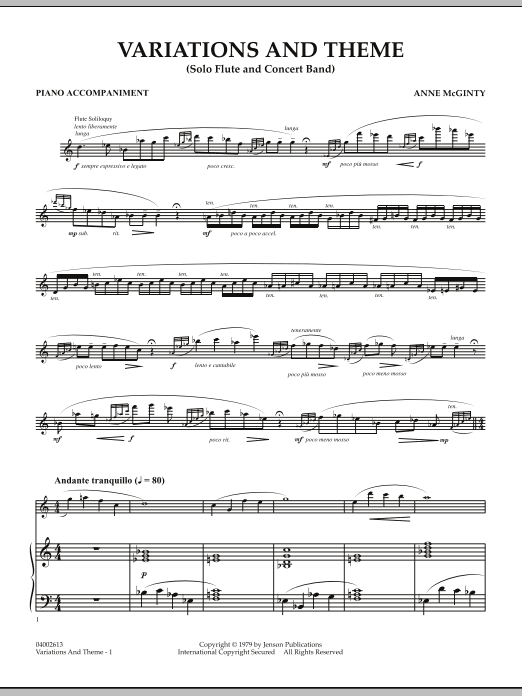 Variations And Theme (for Flute Solo And Band) - Piano Accompaniment (Concert Band)