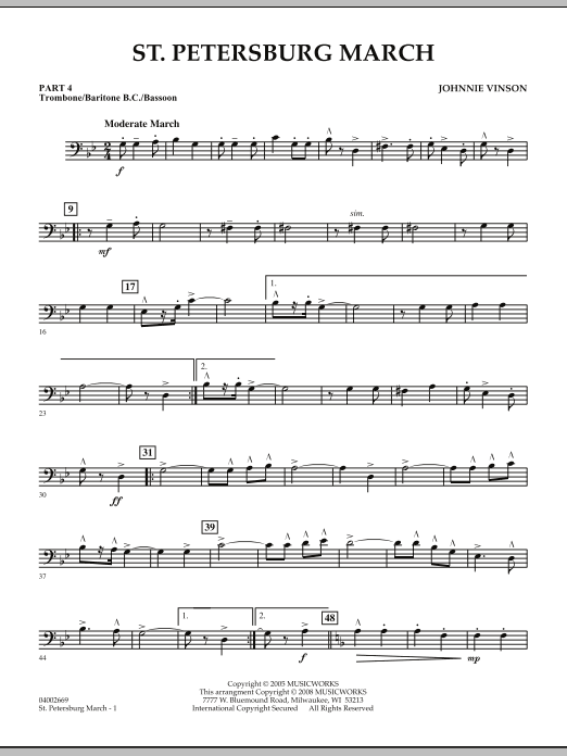 St. Petersburg March - Pt.4 - Trombone/Bar. B.C./Bsn. (Concert Band: Flex-Band)