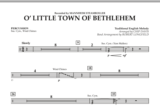 O Little Town Of Bethlehem - Percussion (Concert Band)