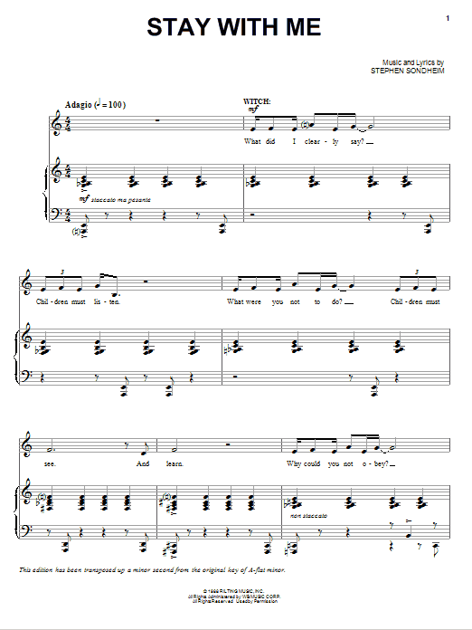 Stay With Me (from 'Into The Woods') Sheet Music