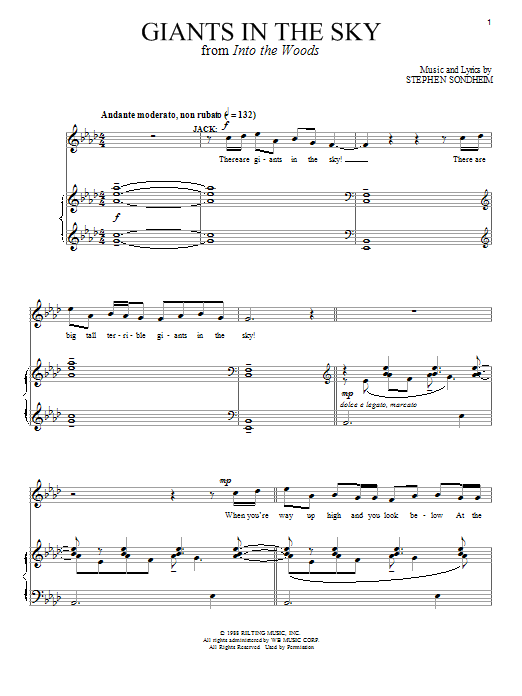 Giants In The Sky (from 'Into The Woods') Sheet Music