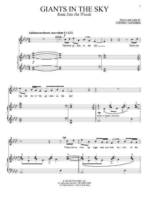Partition piano Giants In The Sky de Stephen Sondheim - Piano Voix