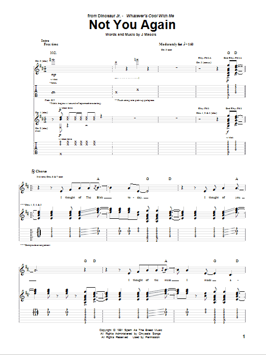 Tablature guitare Not You Again de Dinosaur Jr. - Tablature Guitare
