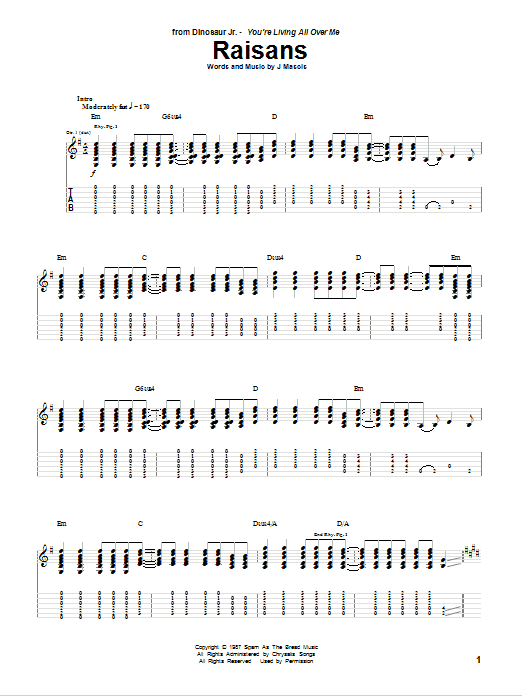 Tablature guitare Raisans de Dinosaur Jr. - Tablature Guitare
