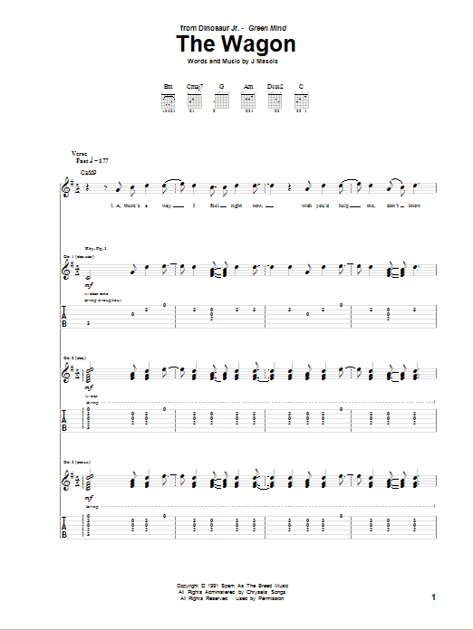 Tablature guitare The Wagon de Dinosaur Jr. - Tablature Guitare