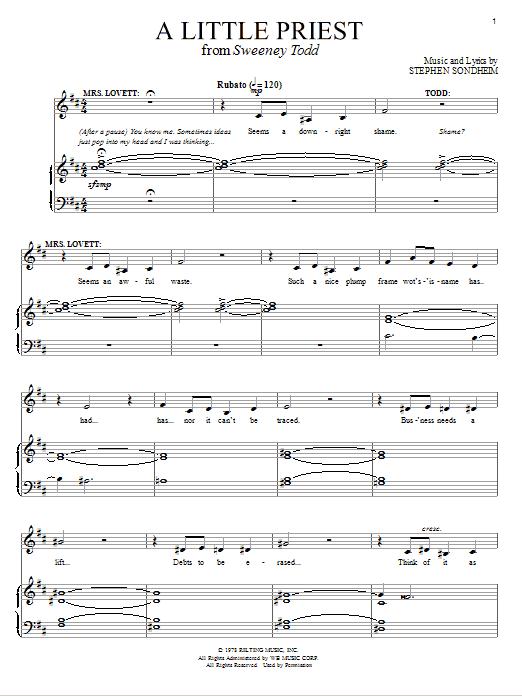 Partition piano A Little Priest de Stephen Sondheim - Piano Voix Guitare (Mélodie Main Droite)