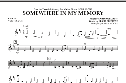 Somewhere In My Memory (from Home Alone) - Violin 3 (Viola Treble Clef) (Orchestra)