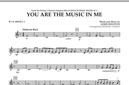 You Are The Music In Me (from High School Musical 2) - Bb Clarinet 2 (Concert Band)