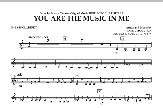 You Are The Music In Me (from High School Musical 2) - Bb Bass Clarinet (Concert Band)