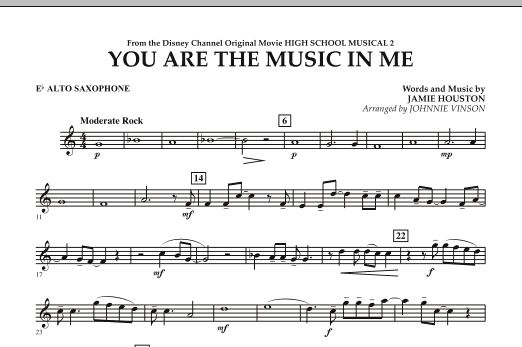You Are The Music In Me (from High School Musical 2) - Eb Alto Saxophone (Concert Band)