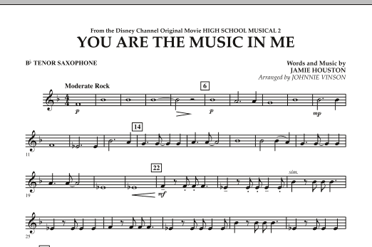 You Are The Music In Me (from High School Musical 2) - Bb Tenor Saxophone (Concert Band)