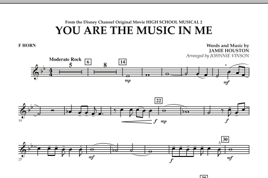 You Are The Music In Me (from High School Musical 2) - F Horn (Concert Band)