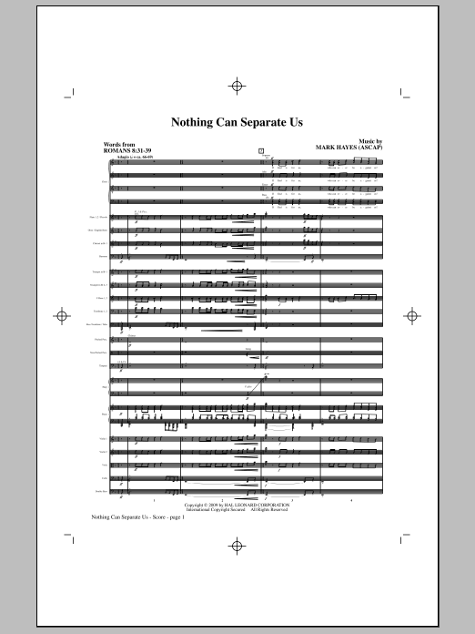 Nothing Can Separate Us (COMPLETE) sheet music for orchestra/band (Orchestra) by Mark Hayes. Score Image Preview.