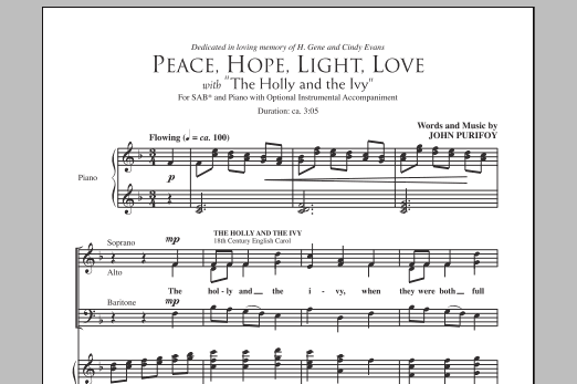 Peace, Hope, Light, Love (with The Holly And The Ivy) Sheet Music