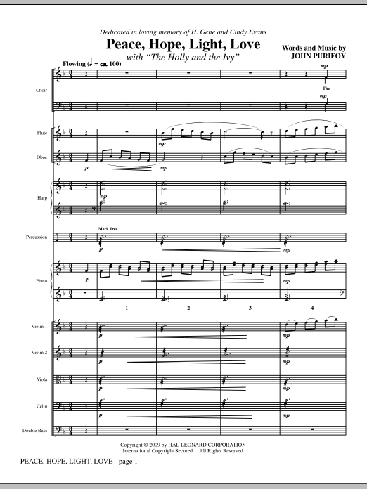 Peace, Hope, Light, Love (with The Holly And The Ivy) (COMPLETE) sheet music for orchestra/band (Orchestra) by John Purifoy. Score Image Preview.