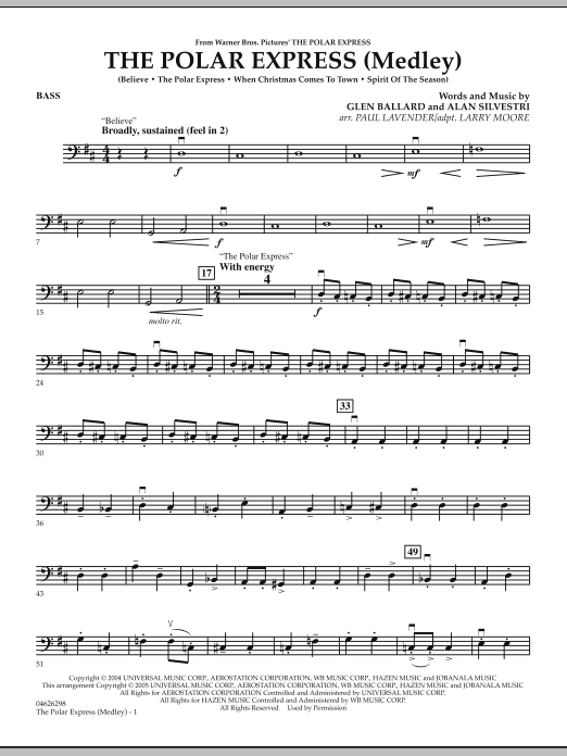 The Polar Express (Medley) - Bass (Orchestra)