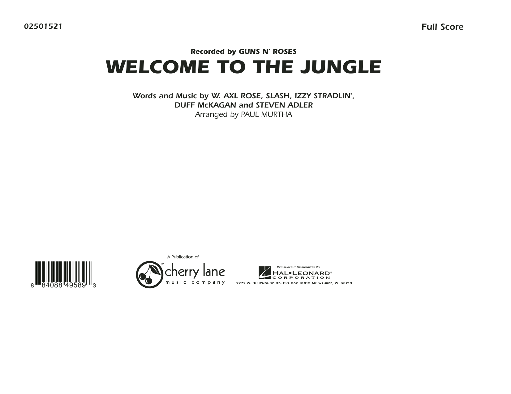 Welcome To The Jungle (COMPLETE) sheet music for marching band by Slash, Axl Rose, Duff McKagan, Steven Adler and Paul Murtha. Score Image Preview.