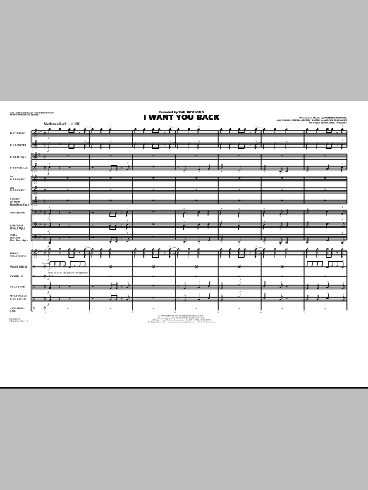 I Want You Back (COMPLETE) sheet music for marching band by Michael Sweeney, Alphonso Mizell, Berry Gordy, Frederick Perren and The Jackson 5. Score Image Preview.