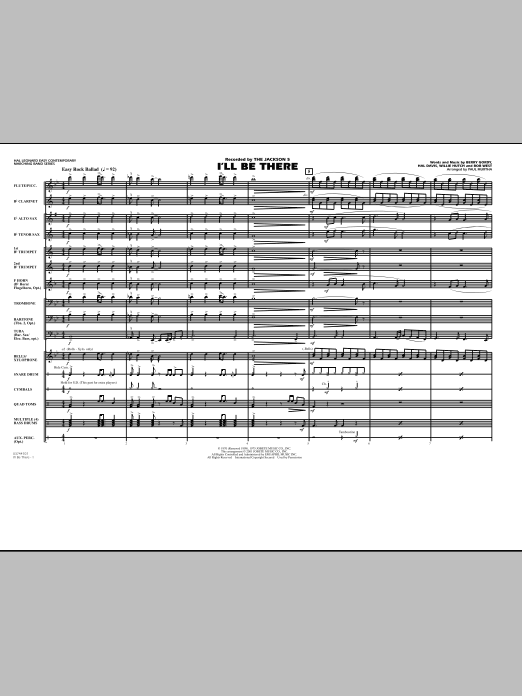I'll Be There (COMPLETE) sheet music for marching band by Paul Murtha, Berry Gordy, Hal Davis, Mariah Carey, The Jackson 5 and Willie Hutch. Score Image Preview.
