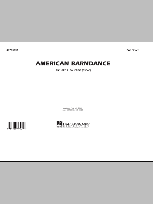 American Barndance (COMPLETE) sheet music for marching band by Richard L. Saucedo. Score Image Preview.