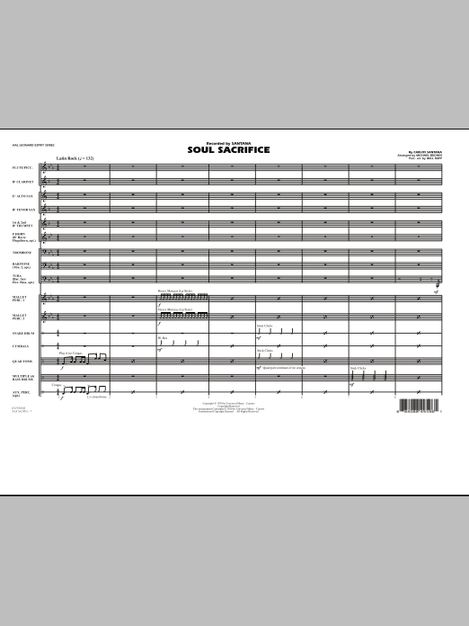 Soul Sacrifice (COMPLETE) sheet music for marching band by Carlos Santana, Michael Brown and Will Rapp. Score Image Preview.