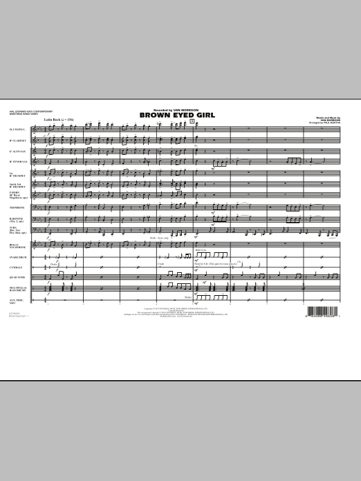 Brown Eyed Girl (COMPLETE) sheet music for marching band by Van Morrison and Paul Murtha. Score Image Preview.