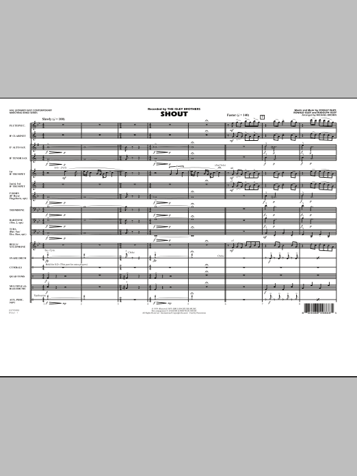 Shout (COMPLETE) sheet music for marching band by Michael Brown, O Kelly Isley, Ronald Isley, Rudolph Isley and The Isley Brothers. Score Image Preview.