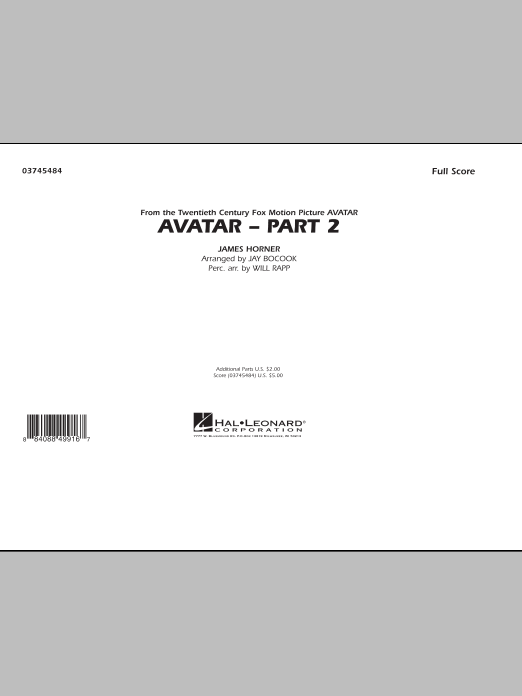 Avatar: Part 2 (COMPLETE) sheet music for marching band by Jay Bocook, James Horner and Will Rapp. Score Image Preview.