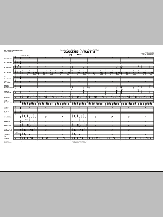 Avatar: Part 3 (War) (COMPLETE) sheet music for marching band by James Horner, Jay Bocook and Will Rapp. Score Image Preview.
