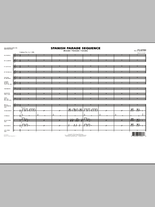 Spanish Parade Sequence (COMPLETE) sheet music for marching band by Paul Lavender and Will Rapp. Score Image Preview.