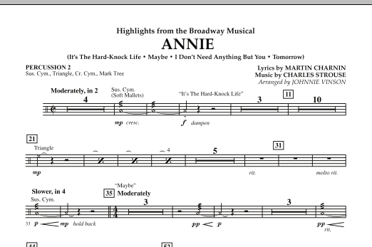 Highlights from Annie - Percussion 2 (Concert Band)