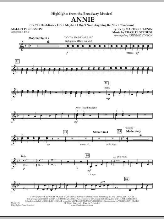 Highlights from Annie - Mallet Percussion by Johnnie Vinson Concert Band  Digital Sheet Music