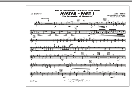 Avatar: Part 1 - 1st Bb Trumpet (Marching Band)
