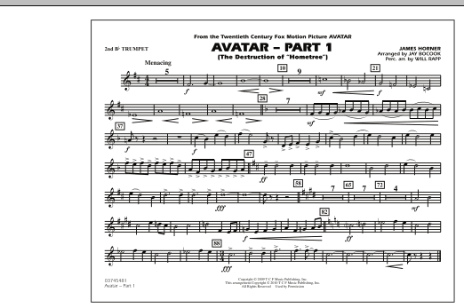 Avatar: Part 1 - 2nd Bb Trumpet (Marching Band)