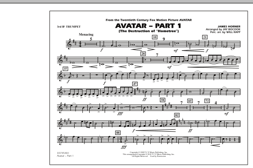 Avatar: Part 1 - 3rd Bb Trumpet (Marching Band)