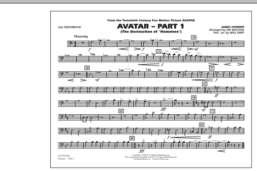 Avatar: Part 1 - 2nd Trombone (Marching Band)